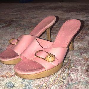 Pink Chanel kitten heels